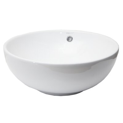 Round Ceramic Circular Vessel Bathroom Sink with Overflow
