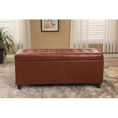 Classic Waxed Texture Storage Ottoman
