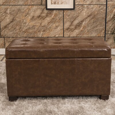 Elegant Waxed Texture Tufted Storage Ottoman Upholstery: Saddle Brown