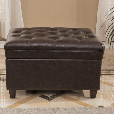 Classic Tufted Waxed Texture Storage Ottoman Upholstery: Espresso