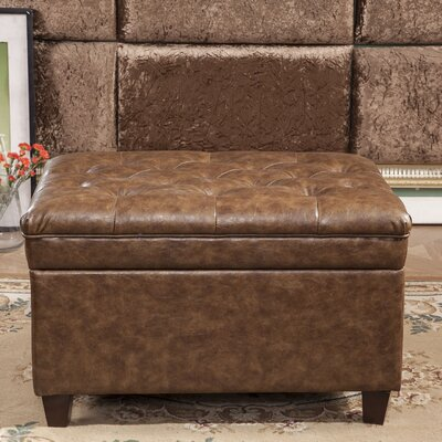Classic Tufted Waxed Texture Storage Ottoman Upholstery: Brown