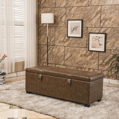 Luxury Comfort Classic Buckled Storage Ottoman Upholstery: Espresso