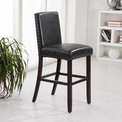 "Luxury 29"" Bar Stool Upholstery: Black"