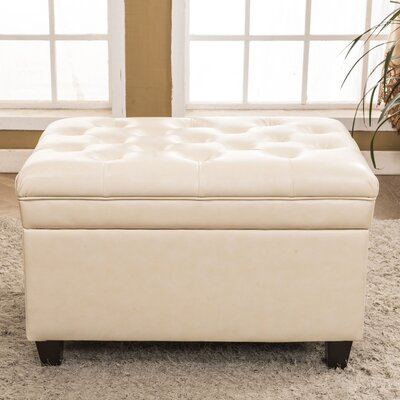 Classic Tufted Waxed Texture Storage Ottoman Upholstery: Yellow Cream