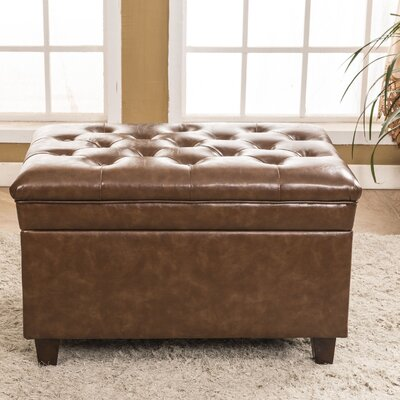 Classic Tufted Waxed Texture Storage Ottoman Upholstery: Saddle Brown