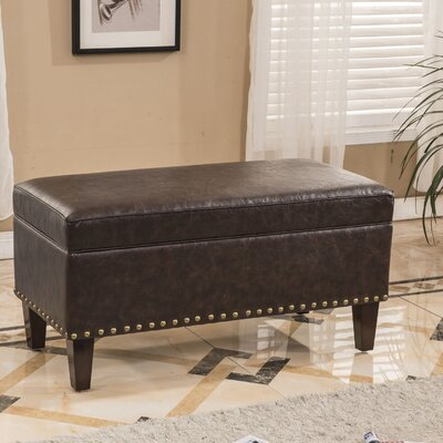 Traditional Storage Ottoman Upholstery: Dark Brown