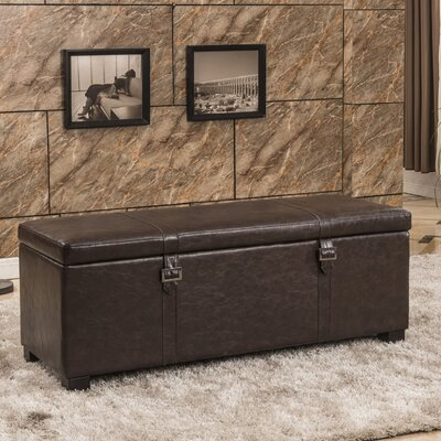 Luxury Comfort Classic Buckled Storage Ottoman Upholstery: Brown