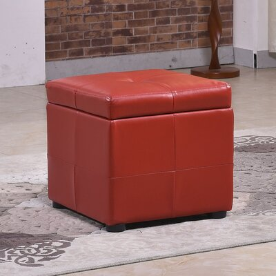 Upholstered Storage Ottoman Upholstery: Red