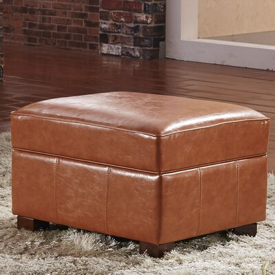 Elegant Storage Ottoman Upholstery: Saddle Brown