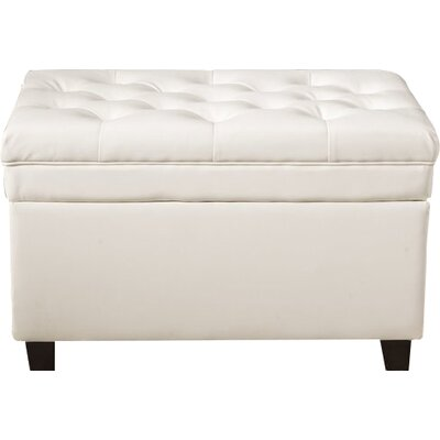 Classic Tufted Waxed Texture Storage Ottoman Upholstery: White