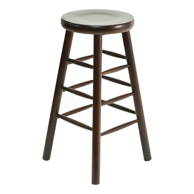 BB Series 30 Bar Stool Base Color: Dark Mahogany, Upholstery: Ivory