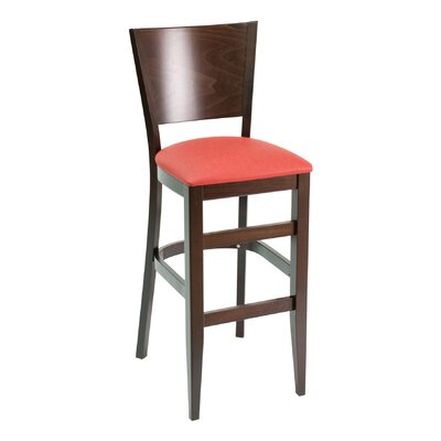 CON Series 30 Bar Stool Base Color: Cherry, Upholstery: American Beauty Red