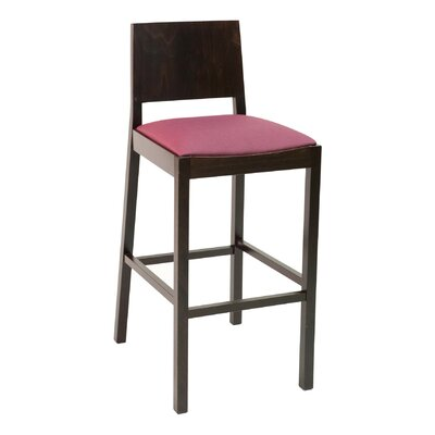 CON Series 30 Bar Stool Base Finish: Walnut, Upholstery: Espresso