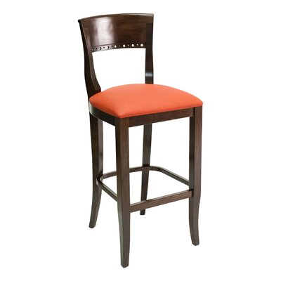 FLS Series 30 Bar Stool Base Finish: Natural, Upholstery: Chocolate Chip