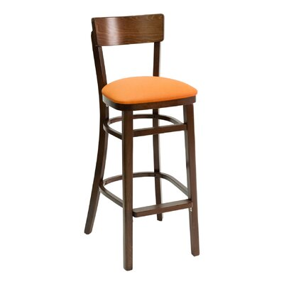 FLS Series 30 inch Bar Stool Upholstery: Ivory, Base Finish: Walnut