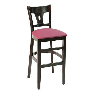 CON Series 30 Bar Stool Base Color: Dark Mahogany, Upholstery: American Beauty Red