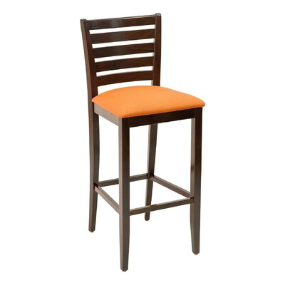 FLS Series 30 inch Bar Stool Upholstery: Ebony, Base Finish: Walnut