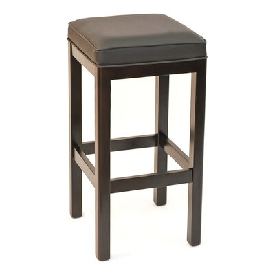 FLS Series 30 Bar Stool Base Finish: Walnut, Upholstery: Ebony