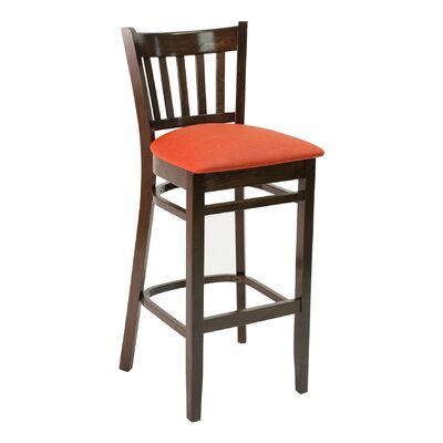 FLS Series 30 Bar Stool Base Color: Walnut, Upholstery: American Beauty Red
