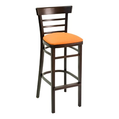 ECO Series 30 Bar Stool Base Finish: Walnut, Upholstery: American Beauty Red