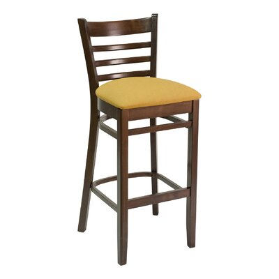 FLS Series 30 Bar Stool Upholstery: American Beauty Red, Base Finish: Dark Mahogany