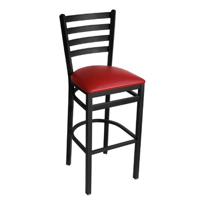 MET Series 30 inch Bar Stool Upholstery: American Beauty Red, Base Finish: Black