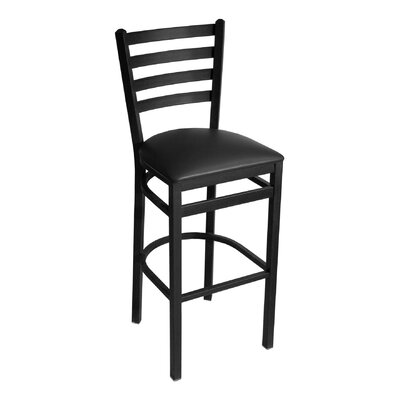 MET Series 30 Bar Stool Base Color: Black, Upholstery: Ivory