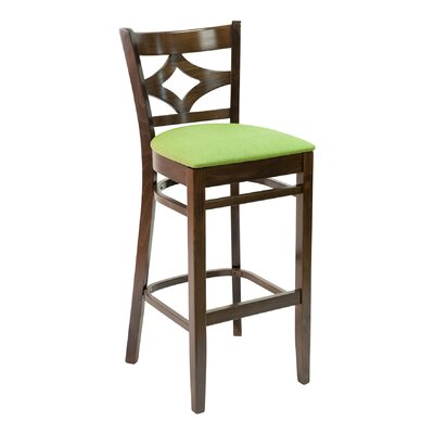 CON Series 30 Bar Stool Base Finish: Natural, Upholstery: Ivory
