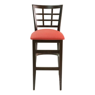 CON Series 30 Bar Stool Base Finish: Natural, Upholstery: American Beauty Red