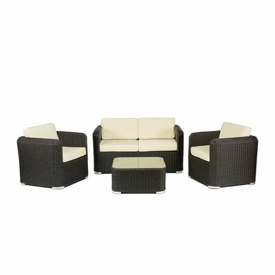 Apollo Beach 4 Piece Dining Set with Cushions Fabric: Black