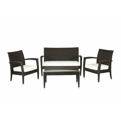 Miami Beach 4 Piece Seating Group with Cushions Fabric: Black
