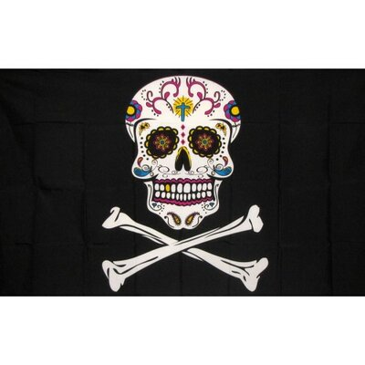Pirate Sugar Skull Traditional Flag F-1685