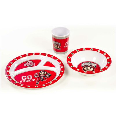 NCAA Melamine 3 Piece Place Setting, Service for 1 NCAA: Ohio State Buckeyes K31155=