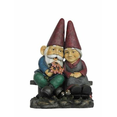 Gnome Old Couple On Bench Statue 75575
