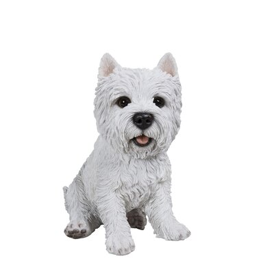 Sitting White Terrier Dog Statue