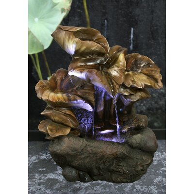 Fibre and Resin Water Lily Leaves Fountain with LED Light 79464