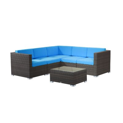 Brighton 6 Piece Sectional Fabric: Aqua, Finish: Light Tan