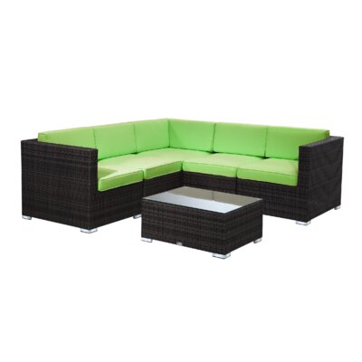 Brighton 6 Piece Sectional Seating Group with Cushion Fabric: Green, Finish: Java