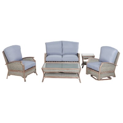 Pompano 5 Piece Conversation Set with Cushions