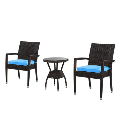 Brighton 3 Piece Dining Set with Cushions