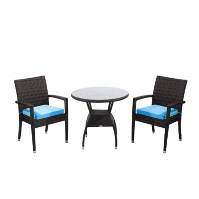 Brighton 3 Piece Bistro Set with Cushion