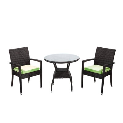 Brighton 3 Piece Dining Set with Cushions Cushion Color: Green, Finish: Java Brown