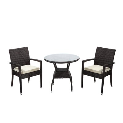 Brighton 3 Piece Dining Set with Cushions Cushion Color: Beige, Finish: Java Brown