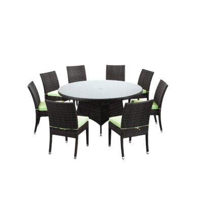 Brighton 9 Piece Dining Set with Cushions Fabric: Green