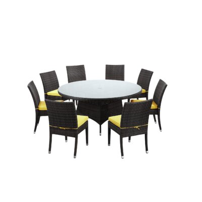 Brighton 9 Piece Dining Set with Cushions Fabric: Yellow