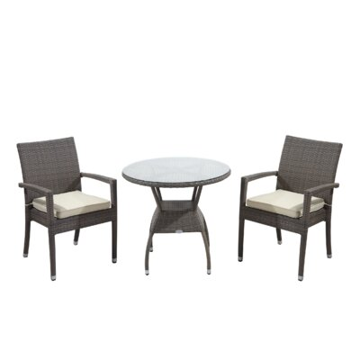 Brighton 3 Piece Dining Set with Cushions Cushion Color: Yellow, Finish: Driftwood