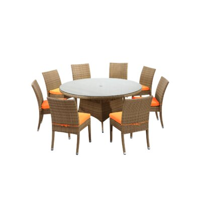 Brighton 9 Piece Dining Set with Cushions Fabric: Orange