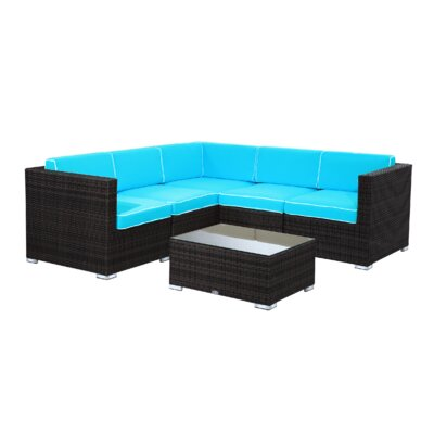 Brighton 6 Piece Sectional Seating Group with Cushion Fabric: Aqua, Finish: Java