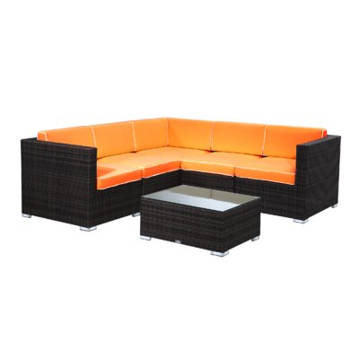 Brighton 6 Piece Sectional Seating Group with Cushion Fabric: Orange, Finish: Java