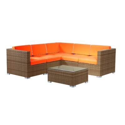 Brighton 6 Piece Sectional Seating Group with Cushion Fabric: Orange, Finish: Honey